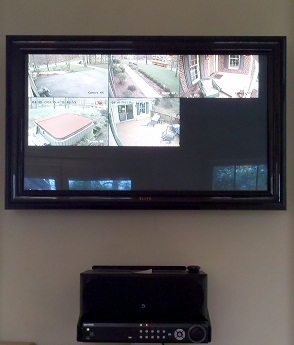 A residential installation utilizing their TV to display outdoor cameras.